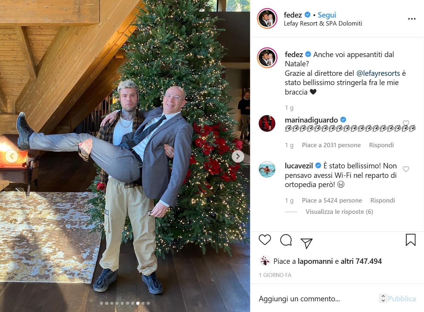 Fedez lascia il Resort Lefay e ringrazia il direttore Polegato