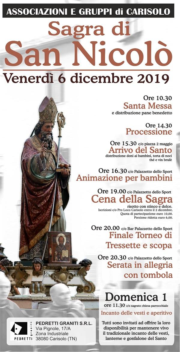 Venerdì 6 dicembre a Carisolo la Sagra di San Nicolò