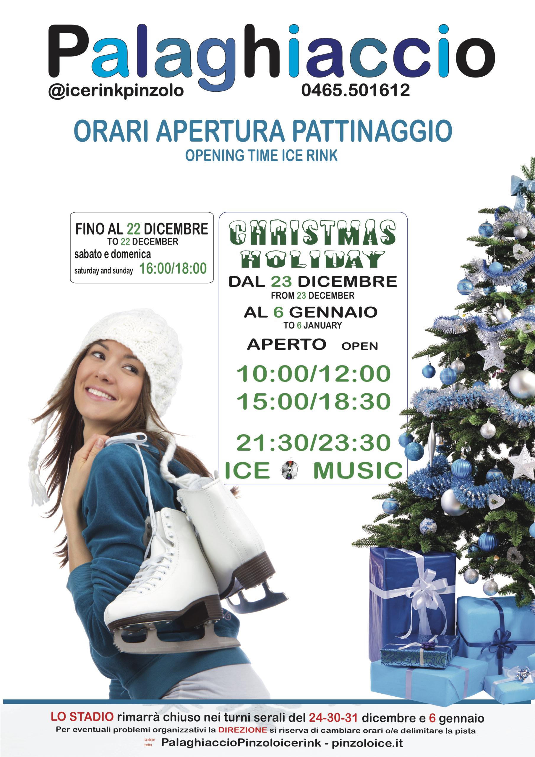 Palaghiaccio Pinzolo: Orario di apertura Natale 2019