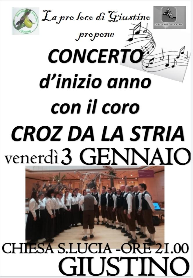 """Concerto del coro """"Croz da la stria"""" domani sera a Giustino ore 21.00 presso la Chiesa"""