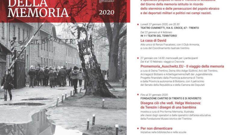 90 gli appuntamenti in Trentino – Giorno della memoria 2020: per non dimenticare