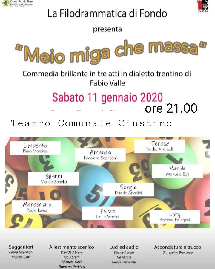 """Teatro di Giustino, 11 gennaio: """"Meio miga che massa"""""""