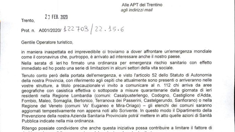 Lettera del Presidente Fugatti a tutti gli operatori turistici: comunicare al 112 chi arriva da aree sottoposte a misure quarantenarie della Lombardia e del Veneto