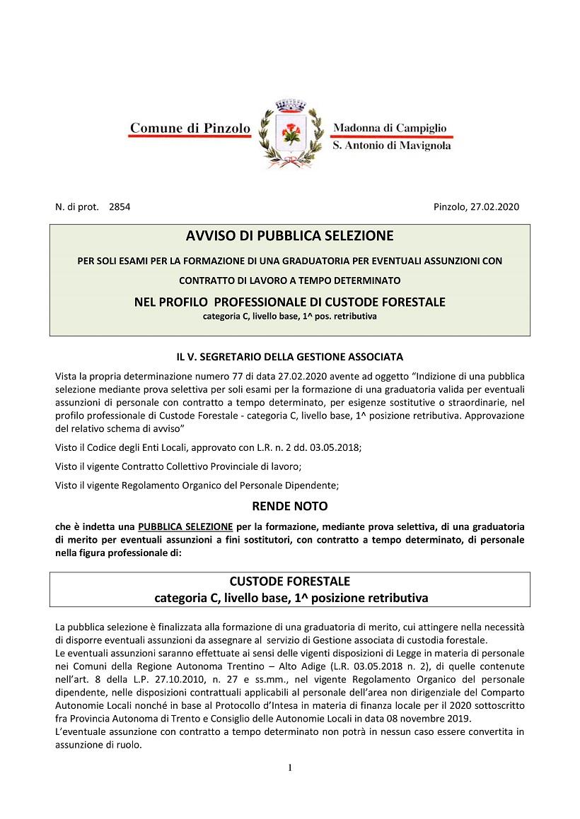 Comune di Pinzolo: AVVISO DI PUBBLICA SELEZIONE- CUSTODE FORESTALE
