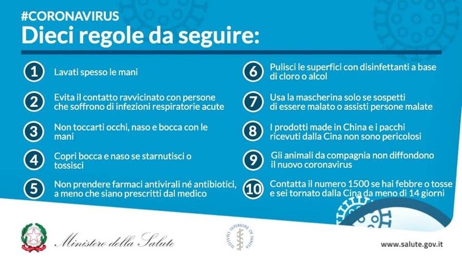 MINISTERO della SALUTE, ecco le 10 REGOLE per PREVENIRE il CORONAVIRUS
