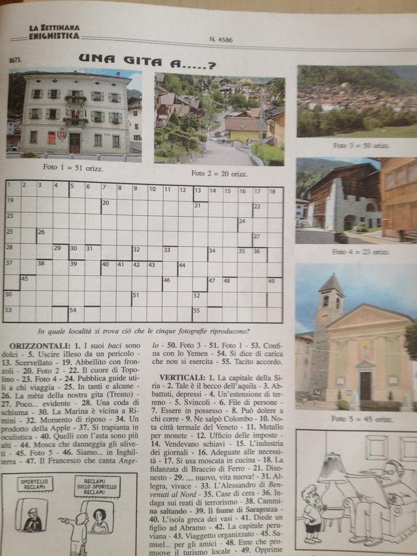 """Indovinate il nome del paese presente nella Settimana Enigmistica della settimana 13 – 20 febbraio nella pagina """"Una gita a …"""""""