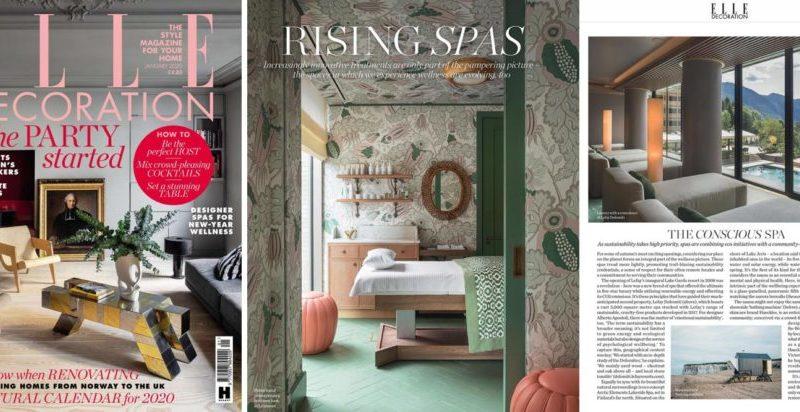 Lefay Resort & SPA Dolomiti è presente su Elle Decoration UK tra le terme consapevoli, dove la sostenibilità ha un'alta priorità.