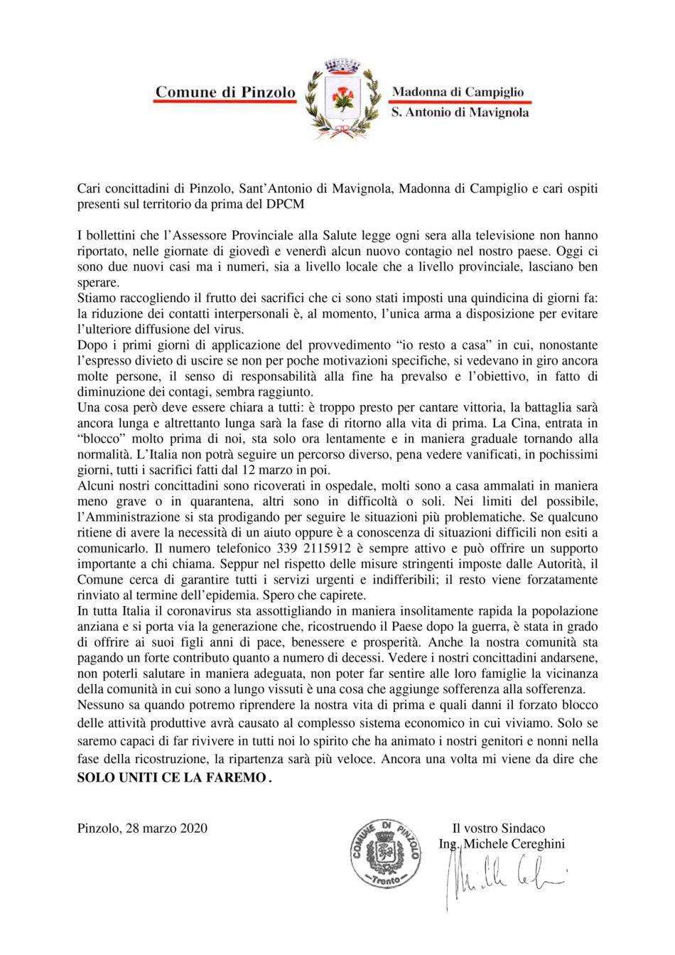 Cari concittadini di Pinzolo, Sant'Antonio di Mavignola, Madonna di Campiglio e cari ospiti presenti sul territorio da prima del DPCM