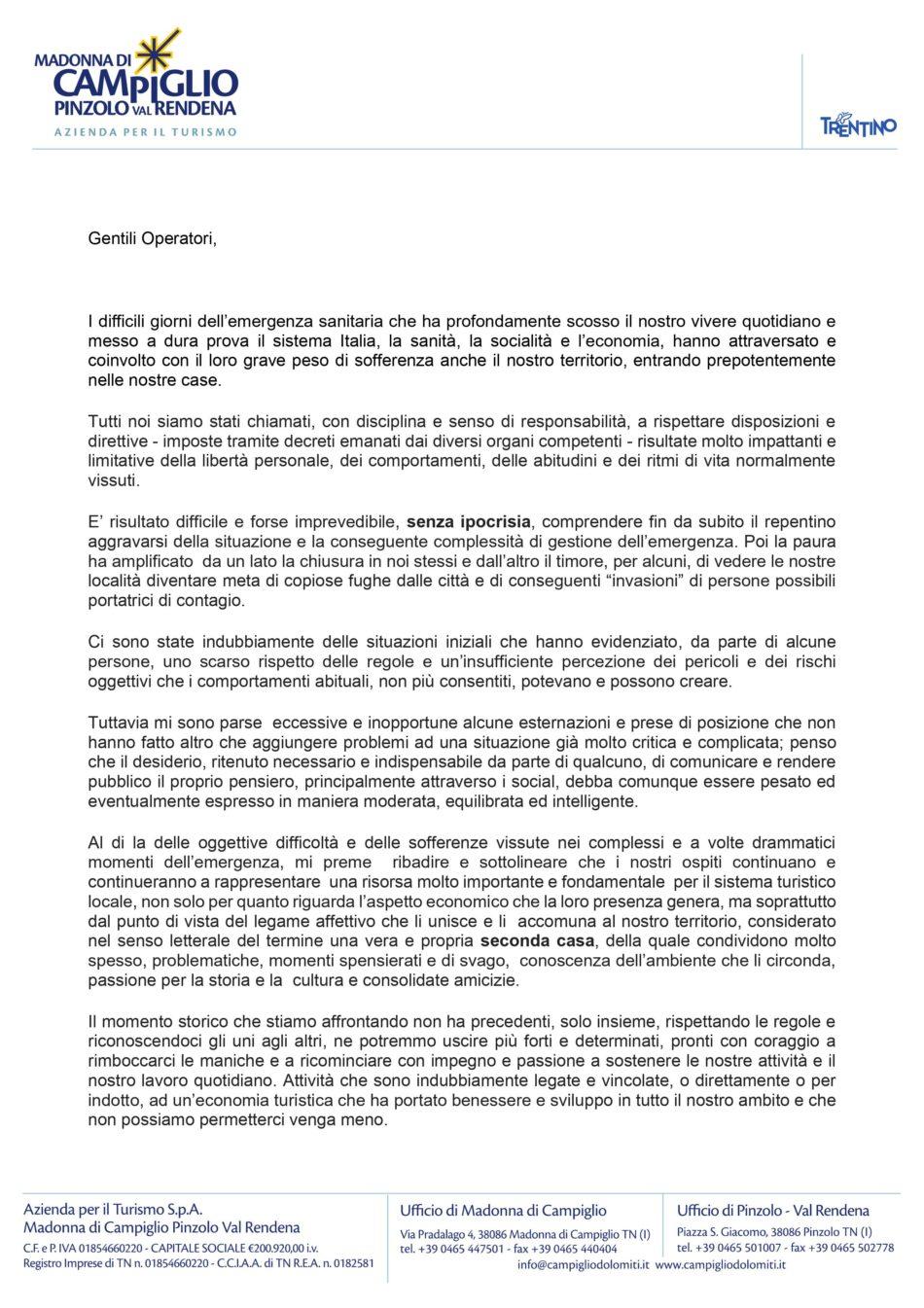 Comunicazione del Presidente dell'APT Madonna di Campiglio Pinzolo Val Rendena
