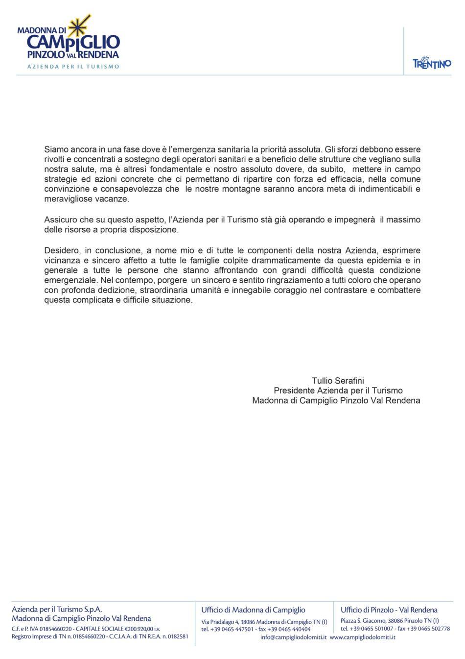 Lettera APT Campiglio Pinzolo Val Rendena