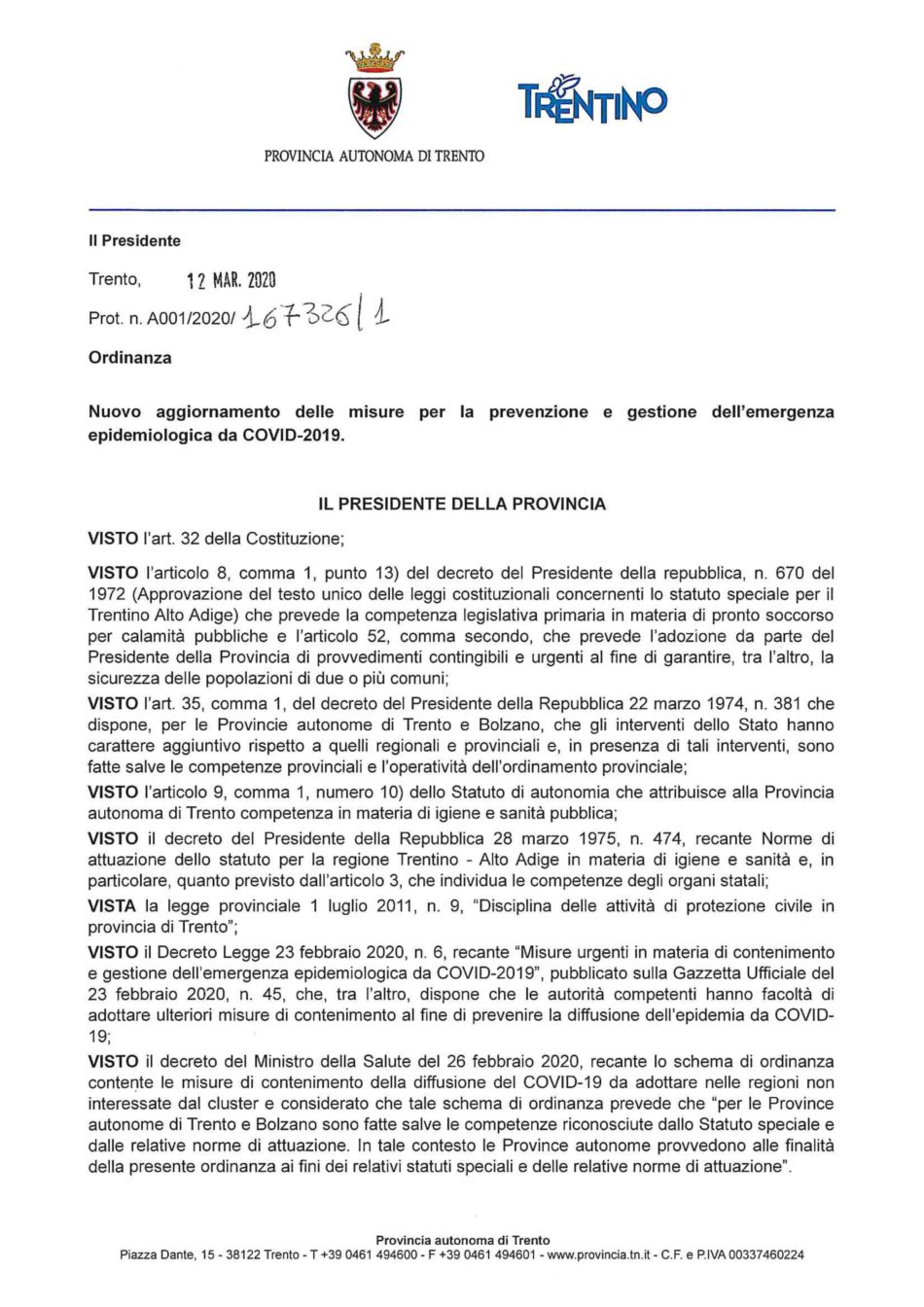 Coronavirus: nuova ordinanza del presidente Fugatti. Previste anche misure per il trasporto pubblico