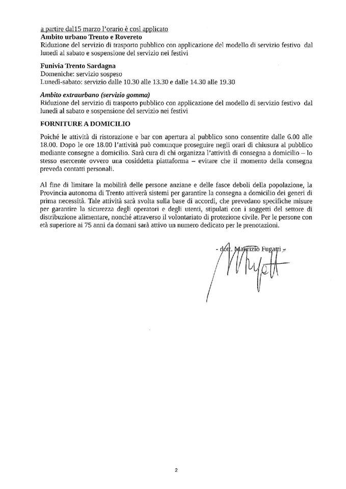 Nuove linee guida provinciali di chiarimento dei DPCM di data 8 e 9 marzo 2020.