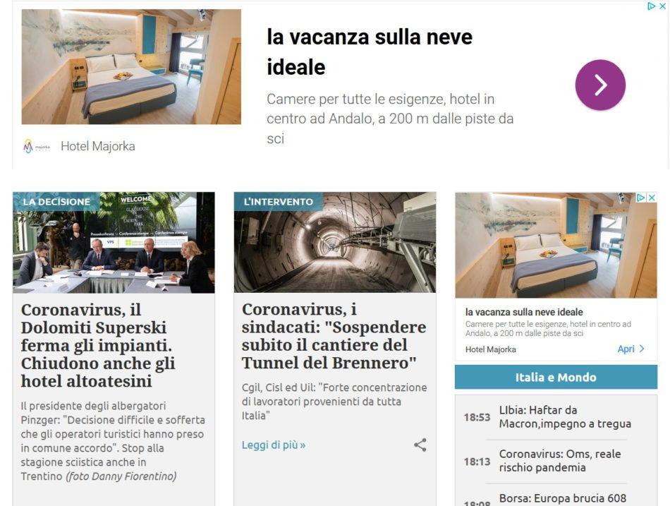 L'assurdità della pubblicità in internet: gli impianti chiudono in tutte le Alpi ma continuano a comparire gli annunci pubblicitari di hotel