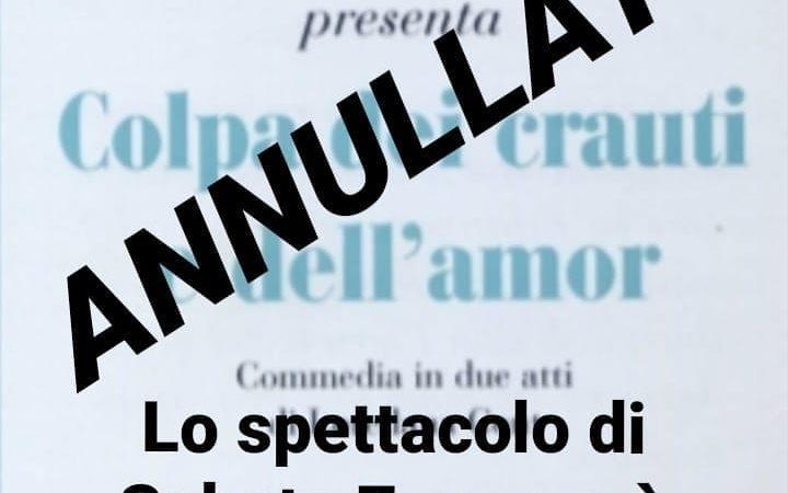 """Annullato lo spettacolo della Filodrammatica """"concordia 74"""" di Povo dal titolo """"colpa dei crauti e dell amor"""""""
