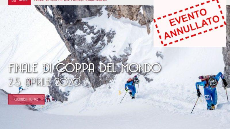 Confermata la cancellazione delle finali della Coppa del mondo di Sci Alpinismo ISMF, che si sarebbero dovute tenere a Madonna di Campiglio dal 2 al 5 aprile 2020