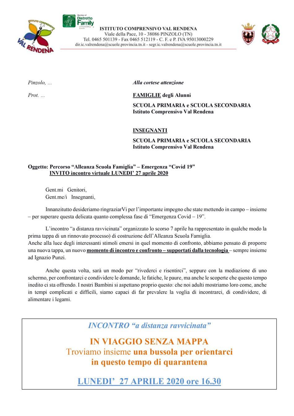 Istituto Comprensivo Val Rendena: NUOVO momento di incontro e confronto a distanza, con Ignazio Punzi, lunedì prossimo…