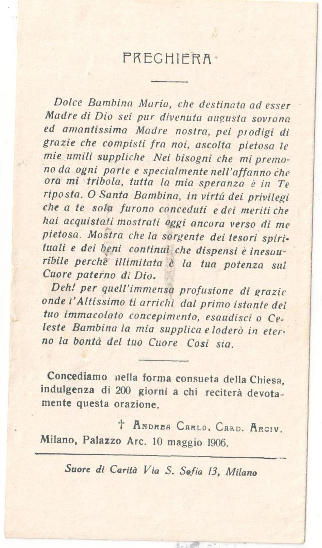 Una nostra fedele lettrice (Bruna Cunaccia) ci ha inviato questi due santini della sua cara nonna Eleonora Maffei in Cunaccia