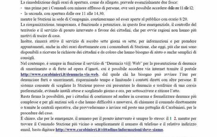 Per esigenze legate al contenimento del COVID-19 le Caserme dei Carabinieri di Carisolo e di M. di Campiglio, da oggi e fino a cessata esigenza, saranno aperte al pubblico in orario 11.00-12.00