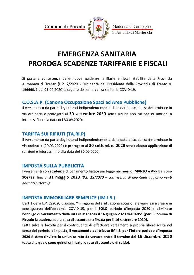 Comune di Pinzolo: Proroga scadenze imposte comunali