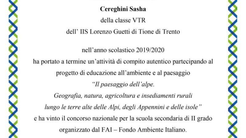 Sasha Cereghini vince il premio FAI Scuola