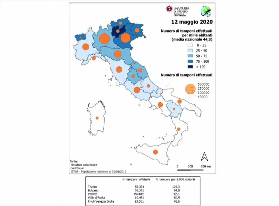 Tamponi eseguiti in Italia