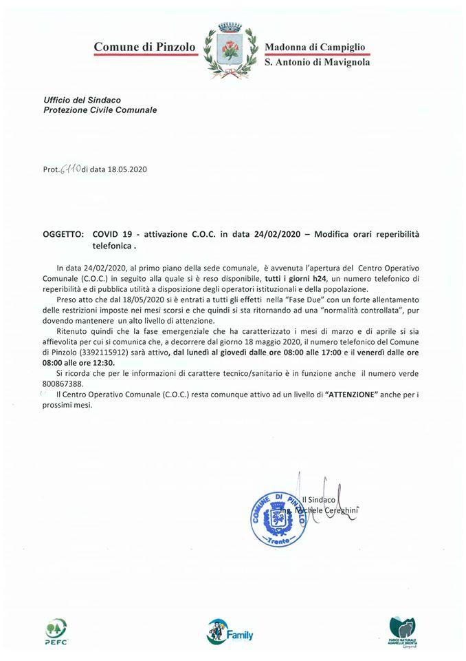 MODIFICA ORARIO REPERIBILITÀ LINEA TELEFONICA COMUNALE COVID-19