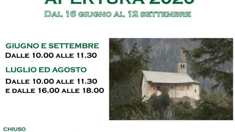 Orari di apertura della chiesa di S. Stefano nel corso dell'estate 2020