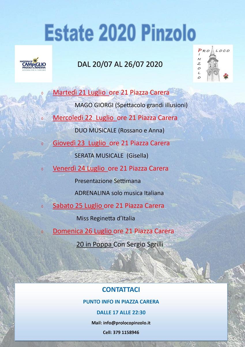 Pro Loco Pinzolo – Programma dal 20 al 26 luglio 2020