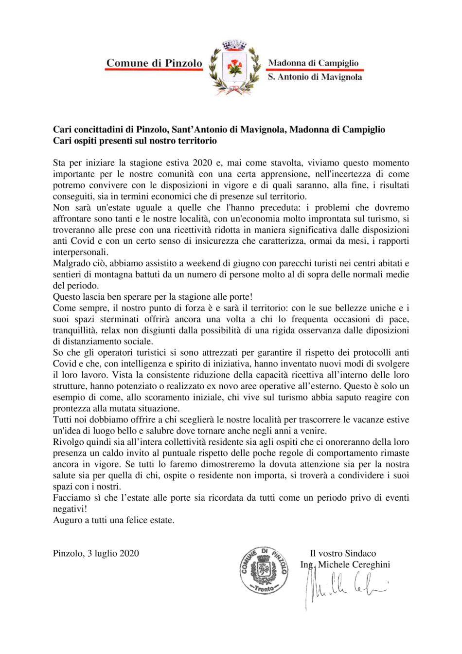 Cari Concittadini - Sindaco di Pinzolo