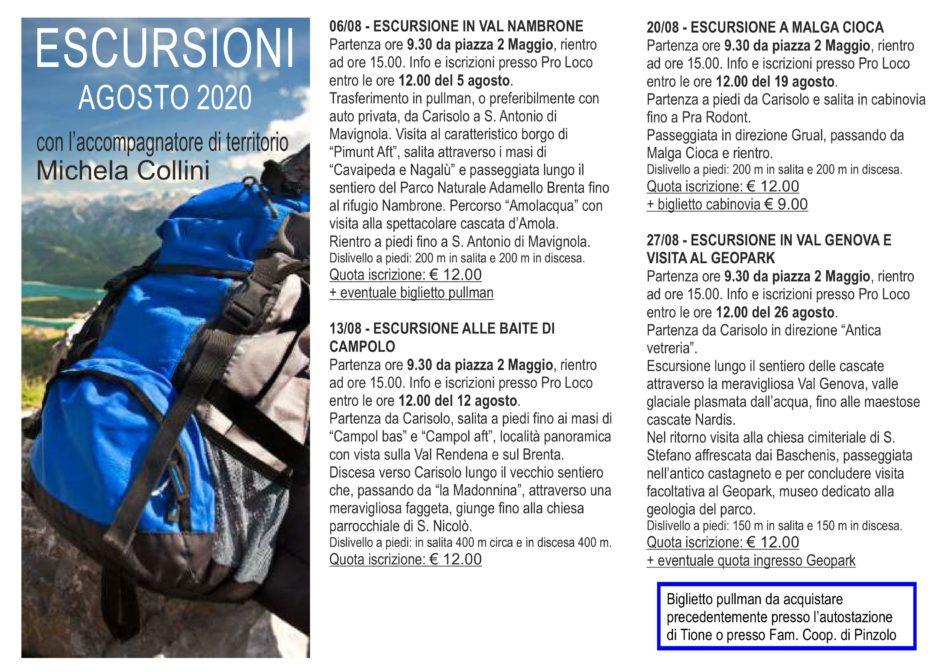 Escursioni con Michela Collini - estate 2020