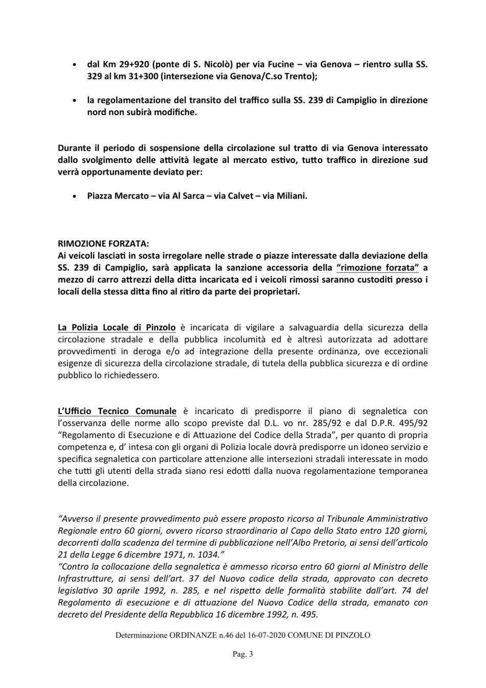 Ordinanza Comune di Pinzolo