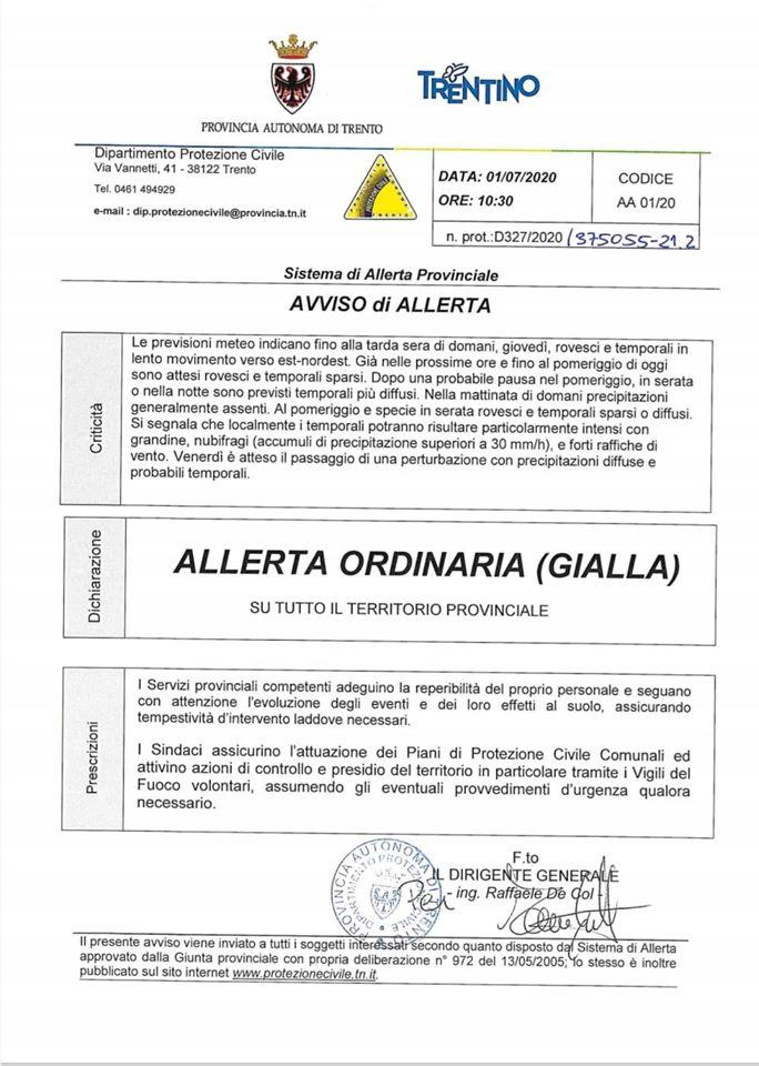 Protezione civile del Trentino: ALLERTA ORDINARIA (GIALLA) PER ROVESCI E TEMPORALI
