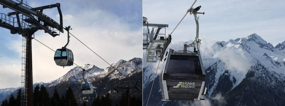Le due telecabine di Pinzolo