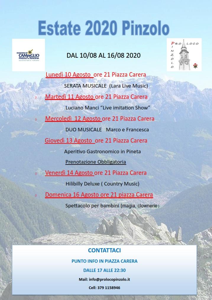 Estate 2020 Pinzolo – Dal 10 al 16 agosto 2020