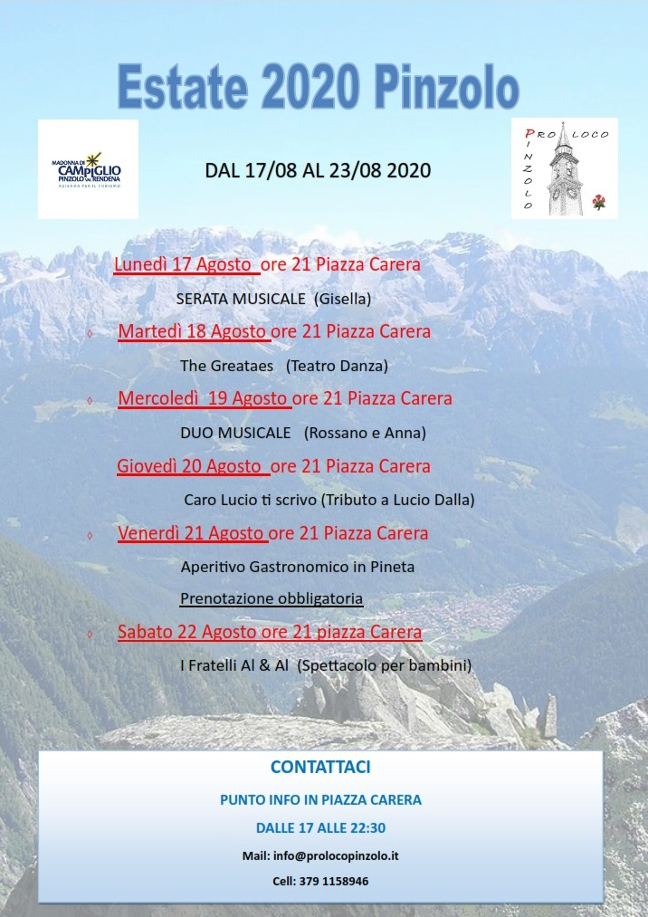 Estate 2020 Pinzolo – Dal 17/08 al 23/08 2020