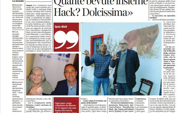 Il Corriere del Trentino dedica una pagina intera ad Alessandro Giacomini
