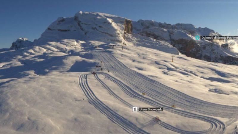 Nevicata abbondante ma solo in cima al Grostè