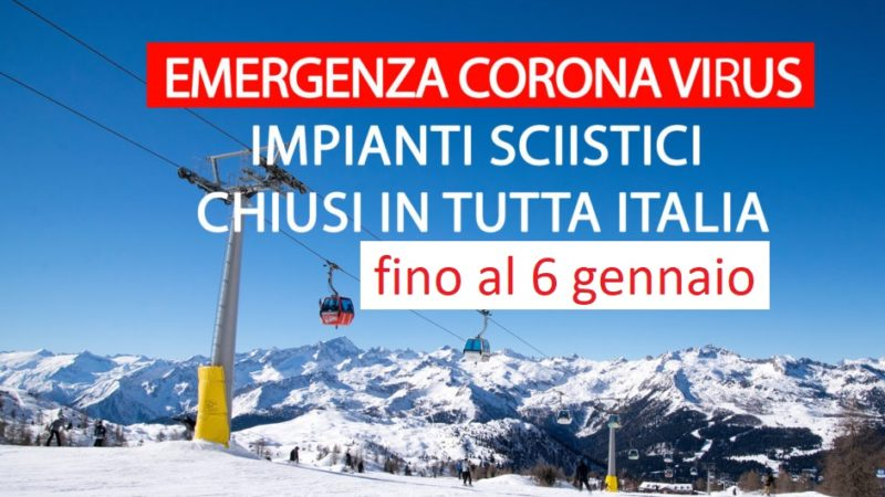 Impianti da sci chiusi in tutta Italia fino al 6 gennaio 2020