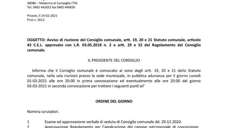Avviso di riunione del Consiglio comunale di Pinzolo