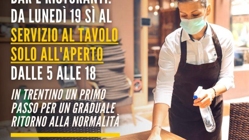 DA LUNEDÌ 19 VIA LIBERA AL SERVIZIO AL TAVOLO SOLO ALL'APERTO PER BAR E RISTORANTI IN TRENTINO