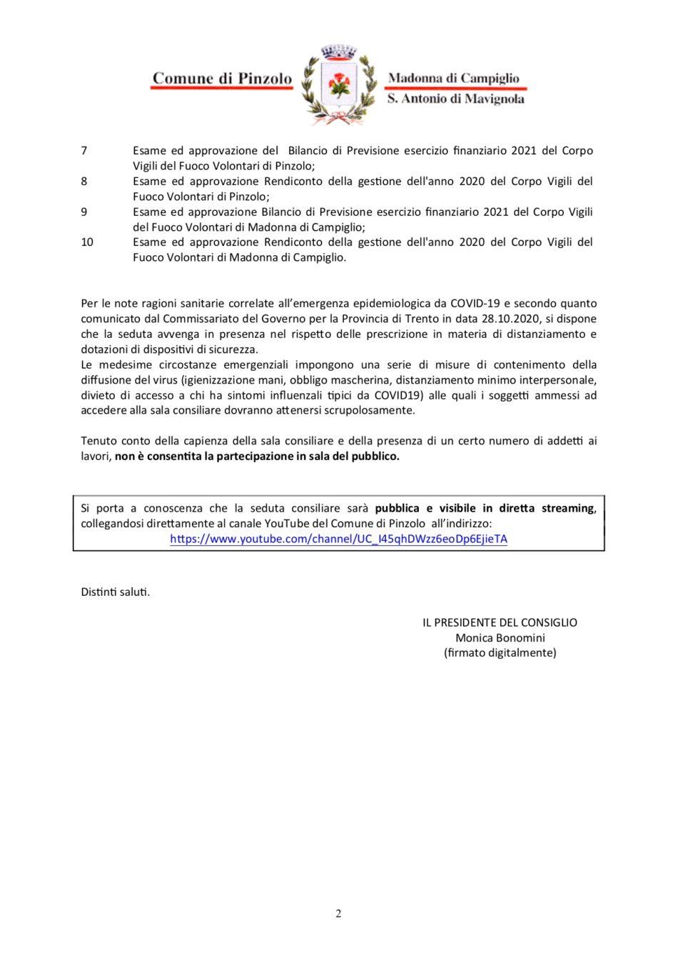 Convocazione del Consiglio comunale del 28 aprile 2021