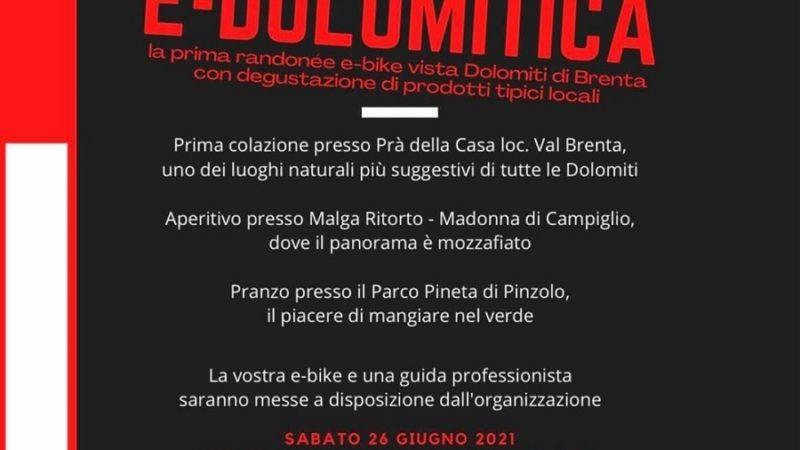 E-DOLOMITICA – la prima randonée e-bike vista Dolomiti di Brenta, con degustazione di prodotti tipici locali