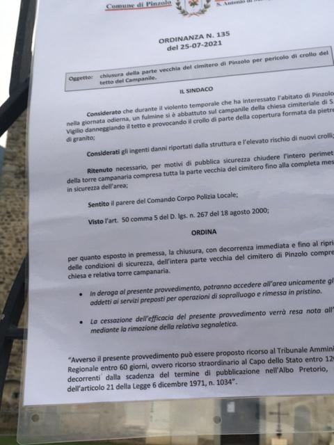 Ordinanza del Sindaco di Pinzolo 25.07.2021