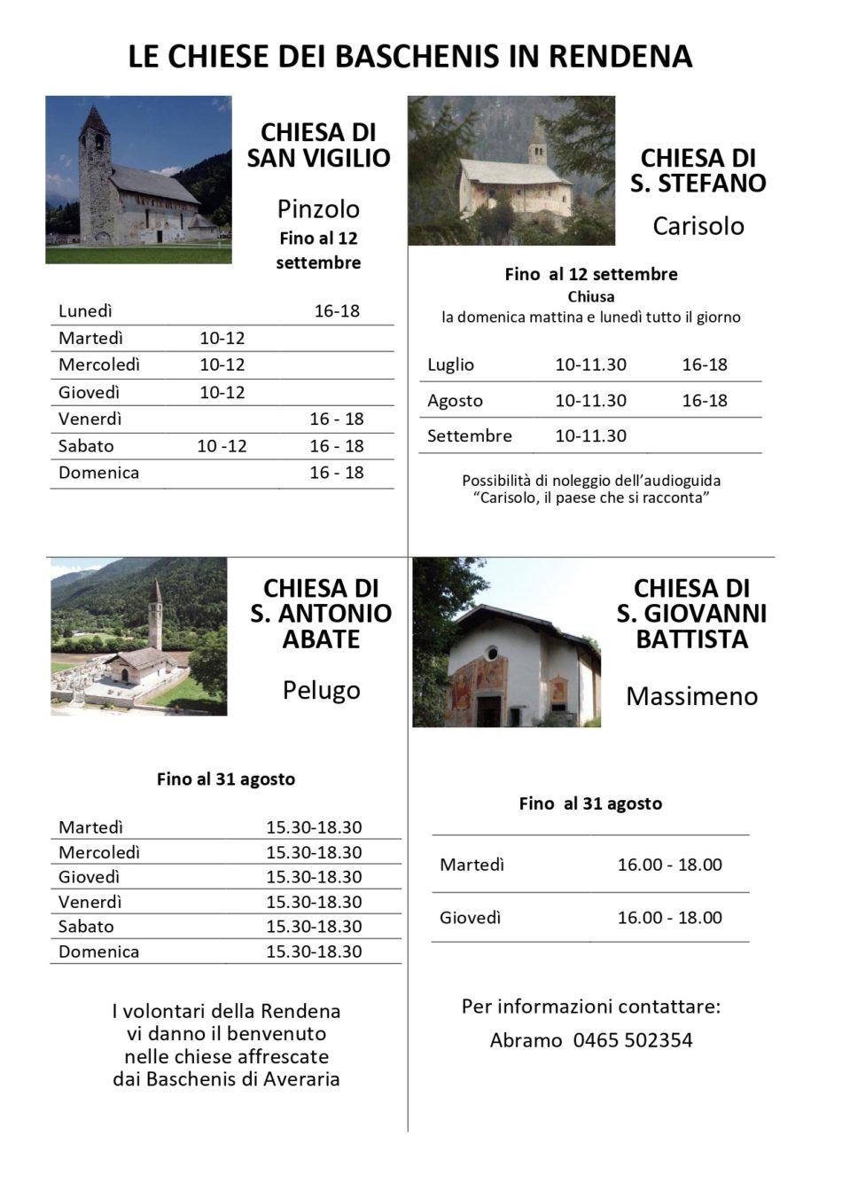 Orari di apertura delle chiese dei Baschenis in Rendena
