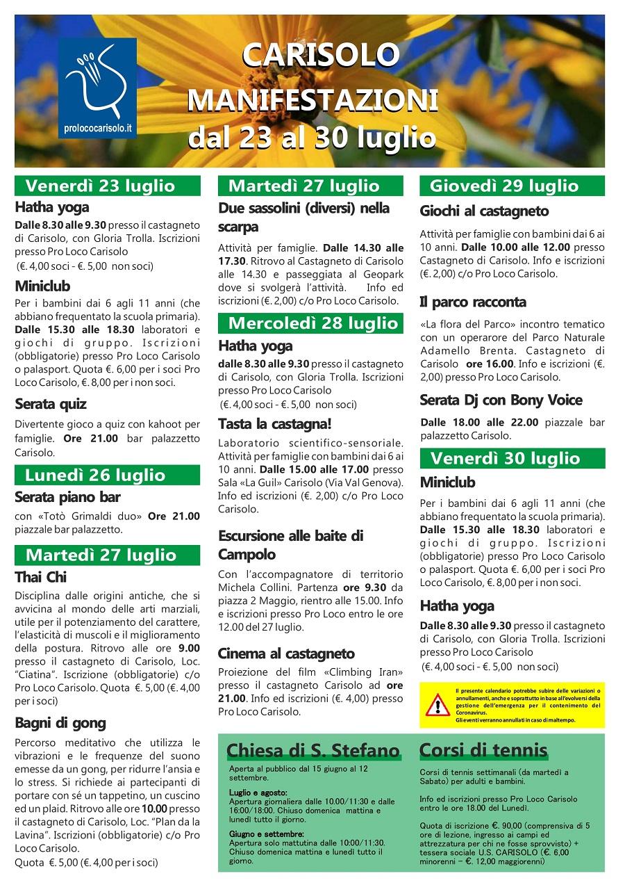 CARISOLO Manifestazioni dal 23 al 30 luglio 2021