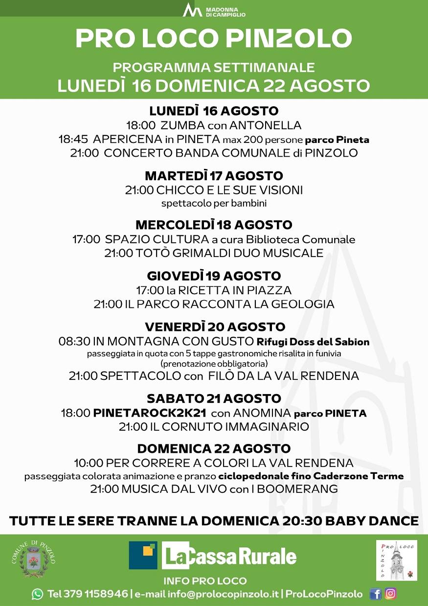 Pro Loco Pinzolo: Programmazione settimanale – Lunedì 16 agosto Domenica 22 agosto 2021