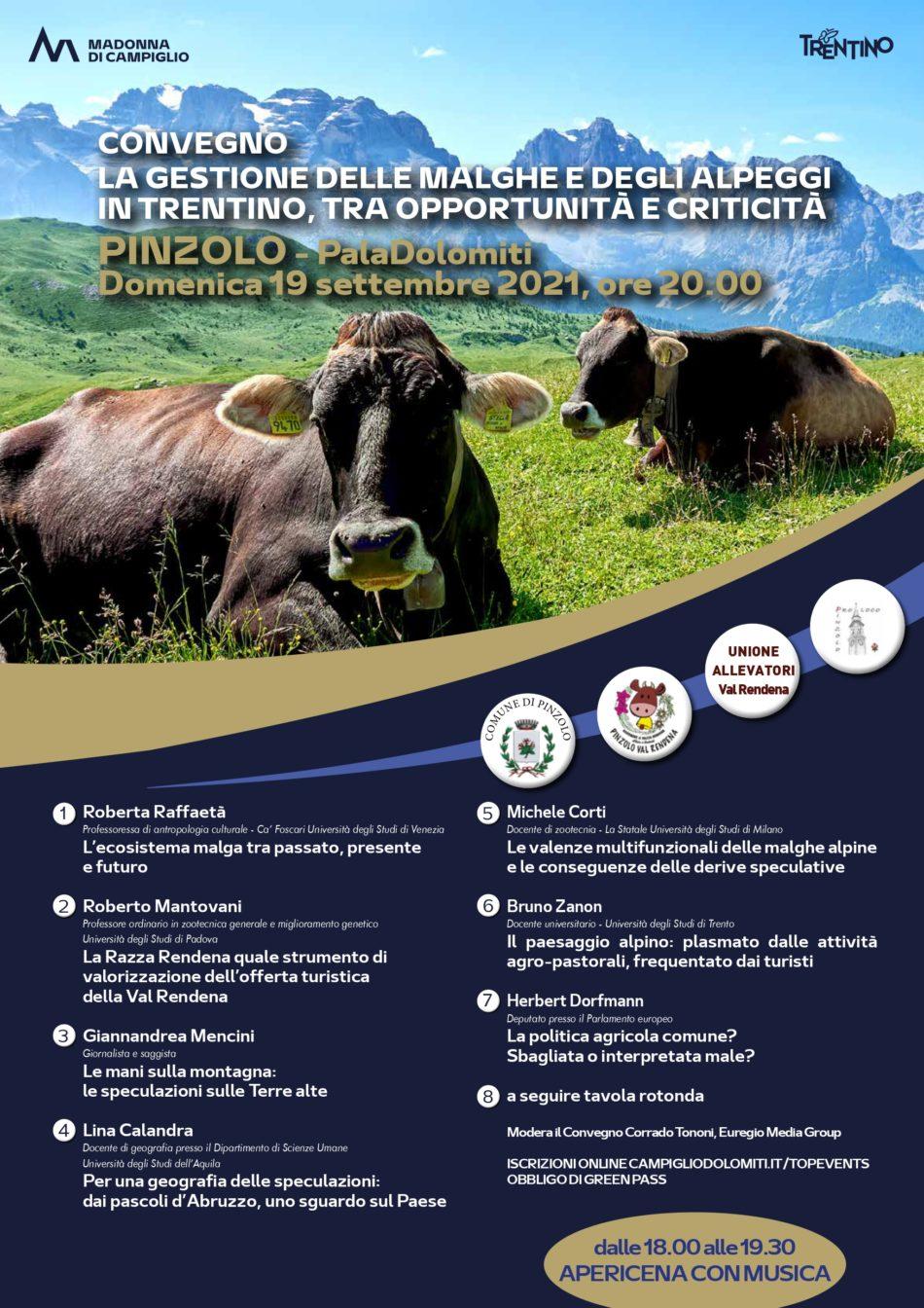 """Convegno """"Malghe ed Alpeggi in Trentino"""" – Pinzolo, domenica 19 settembre 2021"""
