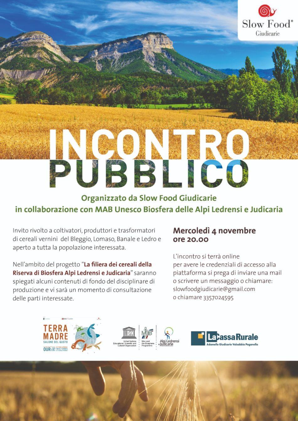 Incontro pubblico online – La filiera dei cereali della Riserva di Biosfera Alpi Ledrensi e Judicaria