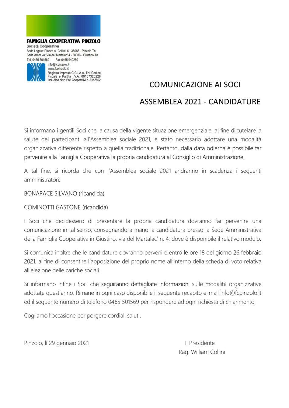 Comunicazione ai soci da parte di Famiglia Cooperativa Pinzolo SC