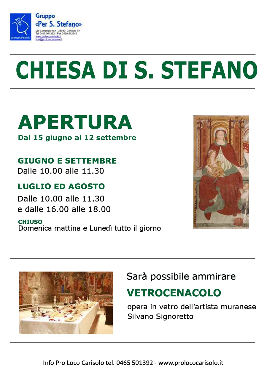 Apertura chiesa S. Stefano – estate 2021